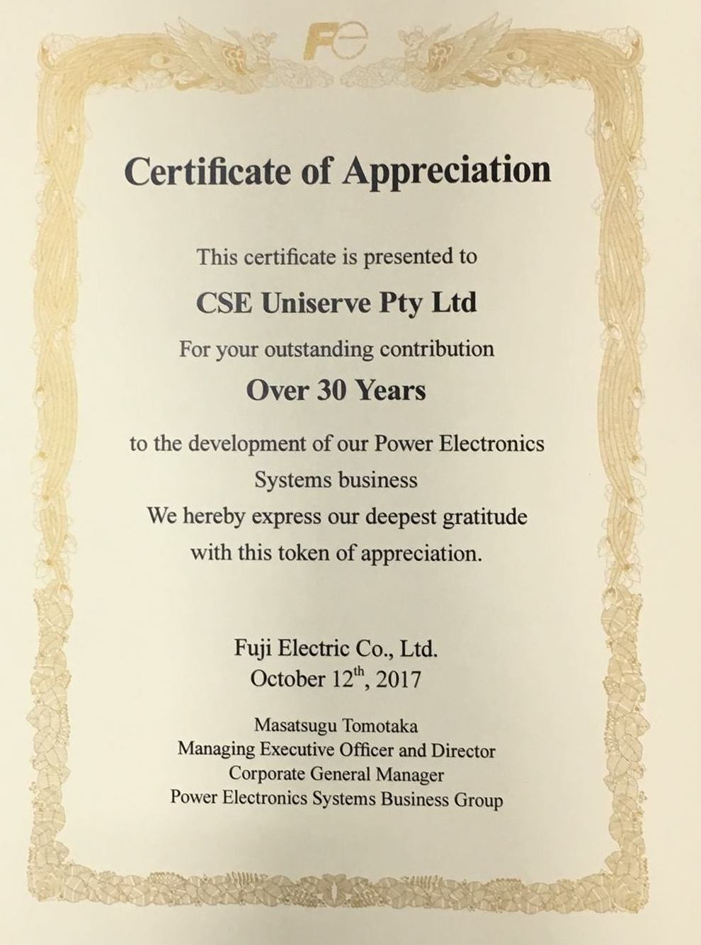Fuji Electric – 30 Years of Business